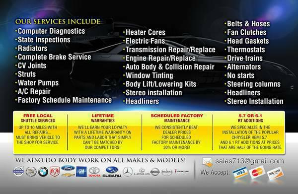 transmission, engine, oil change, alignment we can help you help at A. Auto repair 713-771-1617