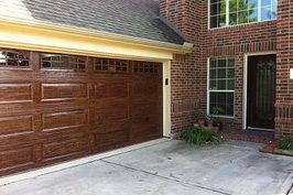 Garage Door Refinishing - Steel to Look Wood9118 - (Houston, The Woodlands, Kingwood)