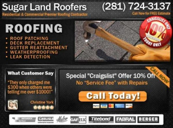 Residential Roof Service, Best Reviewed (Sugar Land TX)