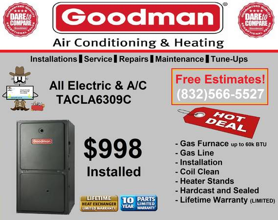 Goodman Furnace Installed for only $998. Thank Goodness for Goodman