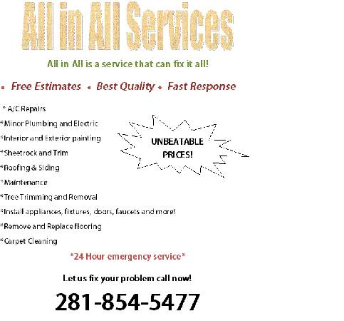 All In All Home repairs handyman services (Katy Sugarland Houston Fortbend)