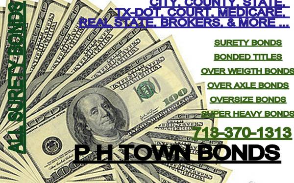 REAL STATE BONDS, BROKER BONDS, SURETY BONDS, TITLE ESCROW AGENT BONDS (2 LOCATIONS IN HOUSTON)