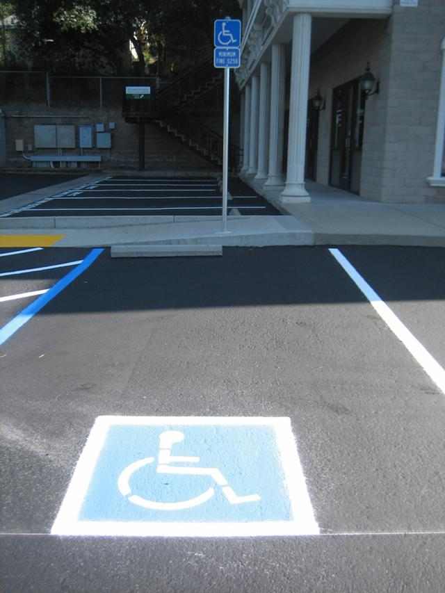 Affordable parking lot striping and handicap