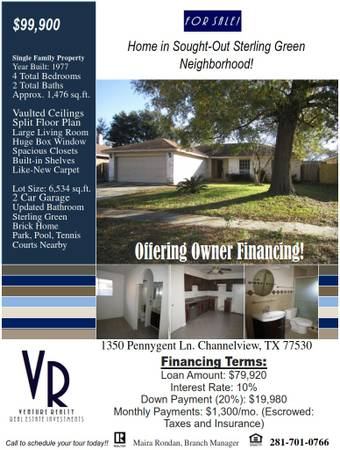 x002499900  4br - 1476ftsup2 - Home in Sterling Green Deed Restricted Neighborhood for SALE (Houston)