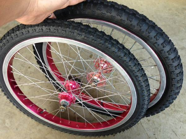 20 red UKAI wheels  tires old school BMX (cinco ranch katy)