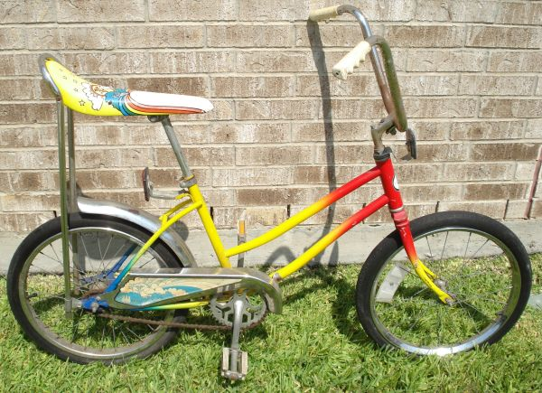 1970s girls banana seat bike groovy rainbow colors, ready to ride - $45 (NW Houston Barker Cypress FM 529)