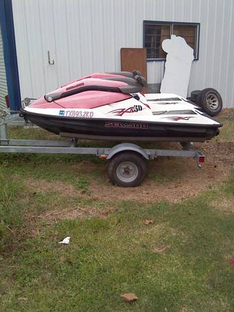 2 2003 seadoo Bombardier 3d jet skis and jet ski trailer - $2500 (Hitchcock Texas)