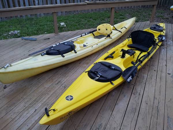 Bimini Perception and Scupper Pro by Ocean Kayak rigged to fish - $600 (Humble, TX)