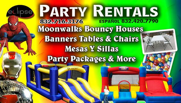 Moonwalk Rentals (party packages offered) - $99 (Pasadena, LaPorte, Houston, Katy)
