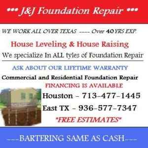 HOUSE LEVELING - FREE ESTIMATES - FOUNDATION REPAIR - TRADES ACCEPTED (713-477-1445)