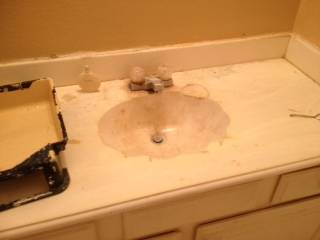 3 marble vanity tops with sinks (spring tx)