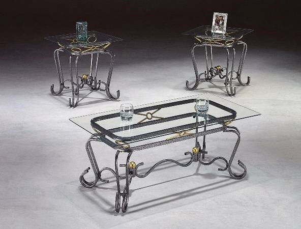 Glass Silver Coffee Table and Side End Tables Set - $120 (Southwest Sugar Land - Can Deliver)