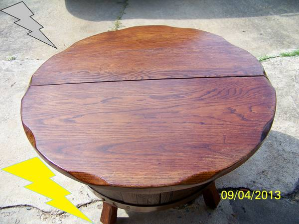 WOODEN HALF WHISKEY BARREL COFFEE TABLE (OBO city of South Houston,  Texas 77502)