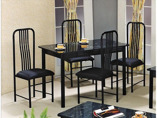 225  Black Marble table top with 4 chairs New in Box