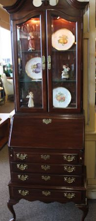 Ethan Allen Secretary Desk with Lighted Hutch - $750 (Spring North Houston)