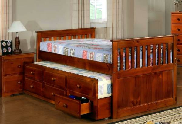 Solid Wood Captains Bed - Twin - $295 (nw houston - hwy 249 N)