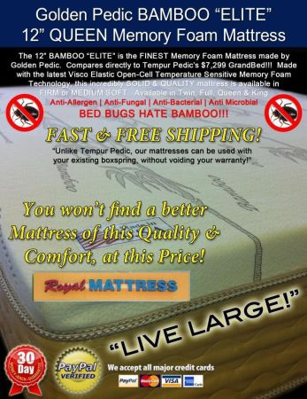 KING SIZE GOLDEN PEDIC BAMBOO 12 MEMORY FOAM FIRM MATTRESS  - $699 (Jackrabbit RdFM529)