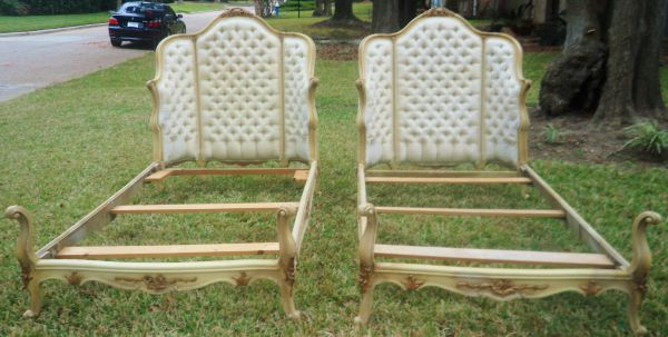 PAIR FRENCH TUFTED HOLLYWOOD REGENCY UPHOLSTERED BED HEADBOARDS SET - $399 (WEST HOUSTON)