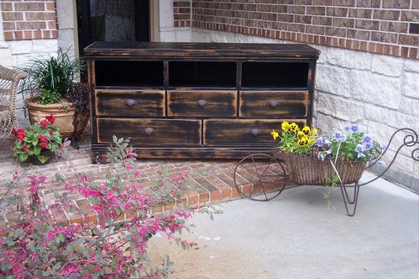 Chic shabby vintage style chest dresser tv console entry hall piece - $385 (MontgomeryConroeWoodlands)