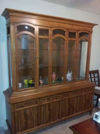 French Walnut China Cabinet J. L. Metz Furniture Co. 1965 - $400 (Houston, Clear Lake)