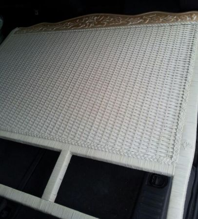 Pier 1 Full sz headboard-blonde wood with white wicker for cheap - $35 (NORTH)