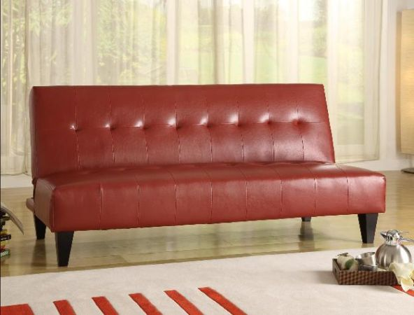 RED RED LEATHER FUTON - $130 (J J FURNITURE)