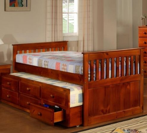 Solid Wood CAPTAINS BED wTrundle STORAGE - $290 (Houston)