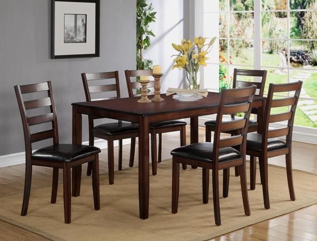 425  Wood Table set with 6 chairs New in Box