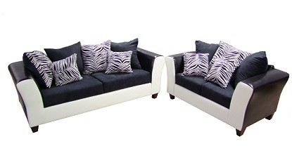 $550, Grey and Black Zebra Sectional Couch