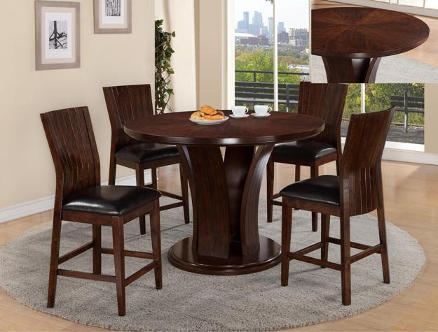 575  New in Box Dark Wood 5pc Dining Table Set
