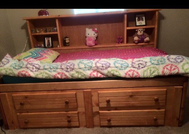 wooden twin size bed wmattress  box spring