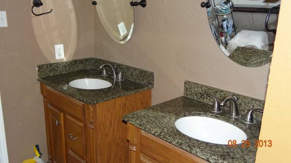 Granite bathroom vanity tops with Nickel faucets - $150 (Pearland)