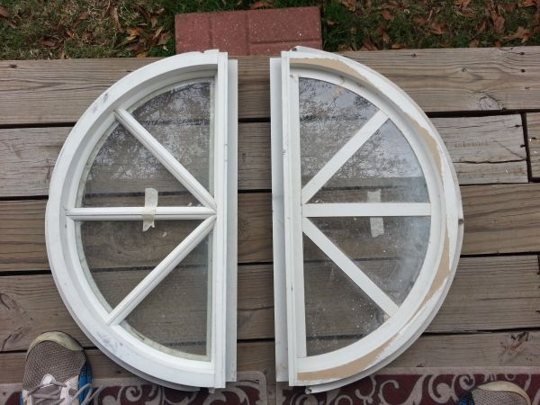 HALF MOON WHITE FRAMED WINDOWS (2) - $30 (baytown highlands)