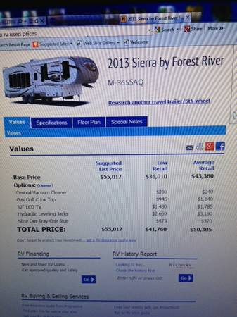 2013 Sierra 365SAQ 5th wheel  -   x0024 38000