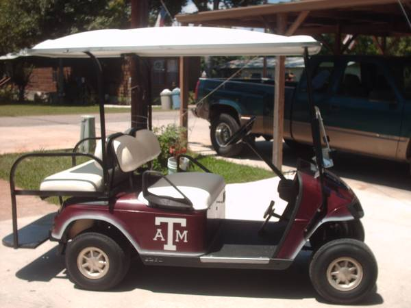 Maroon EZ-Go Golf Cart PD with extended top and back seat - $2000 (Willis N Side of Lake Conroe)