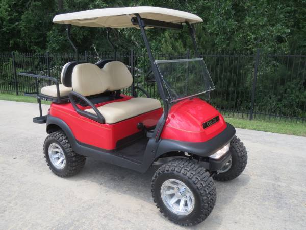 GOLF CART BRIGHT RED Club Car with Rear seat Lights (montgomery,lake conroe area,hwy.105)