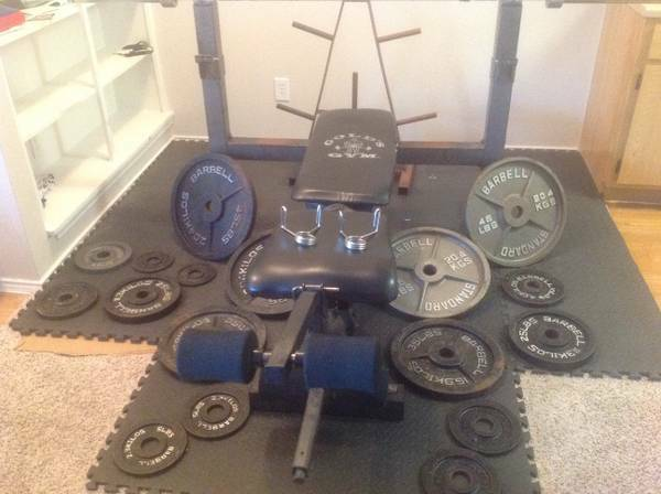 Golds Gym Olympic Bench wBarbellLeg DeveloperOlympic Plate Rack  - $450 (Spring TX)