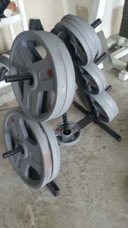 Weider Olympic Plates Plus Rack 255lbs - $160 (I45 and Richey Rd (North Houston))