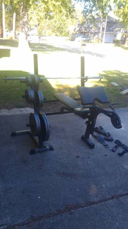 Olympic weight bench,Olympic bar,tree,280pounds-deluxe set w extras - $340 (SpringThe Woodlands)