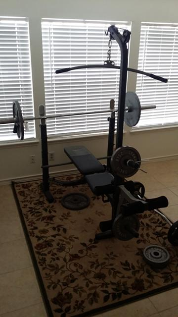 $250, Complete Marcy workout weight set and bench