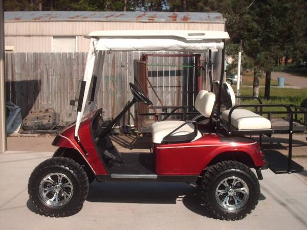 08 Inferno Red PDS EZ-Go Golf Cart, lifted, back seat - $3500 (Willis N Side of Lake Conroe)