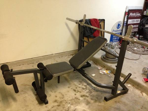 LIGHTY USED WEIGHT BENCH WITH WEIGHTS - $200 (Downtown Houston)