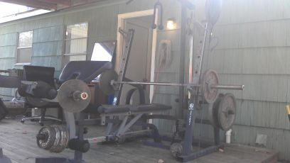 Olympic weight set gym bench - $320