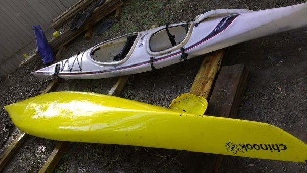 Two 16 Aquaterra Chinook Kayaks One with Rudder. $300 each - $600 (Montrose--Houston, TX)