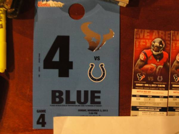 Houston Texans vs Colts 3 Tix Blue Lot Parking Pass - $750 (rice village)