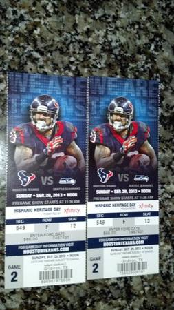 TEXANS VS SEAHAWKS 2 Tickets - $225 (Very Low in the 500s section)