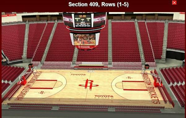 Rockets vs Lakers 117 - $125 (2nd row, mid-court, upper bowl)
