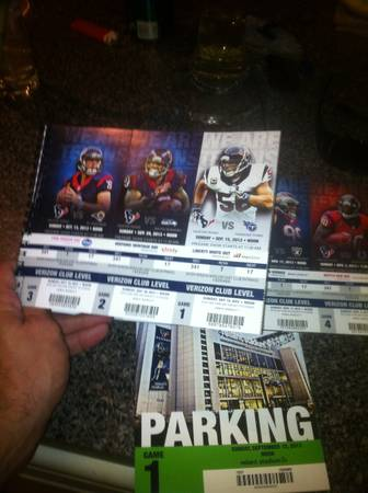 ALL TEXANS HOME GAME TICKETS Verizon club level - $600 (Heights)