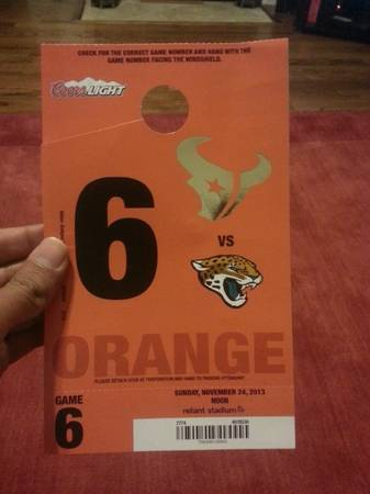 ORANGE PARKING PASS - TEXANS v. JAGUARS - $50 (HOUSTON AREA)