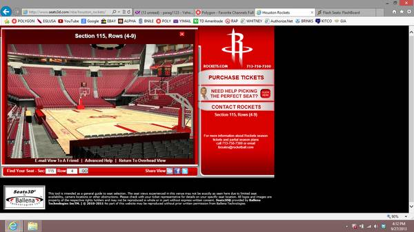ROCKETS - THUNDER 11614- LOWER LEVEL - FIRST ROW - $1 (GALLERIA)